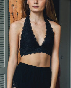 Dreamy - Black Lace Halter Bralette