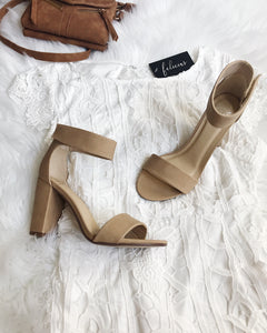 Haley - Nude Chunky Ankle Strap Heel Sandals