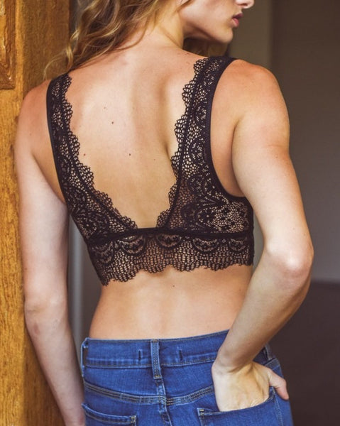 Date Night - Black Plunge Lace Bralette