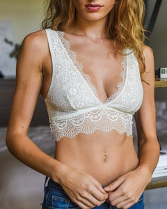 Date Night - White Plunge Lace Bralette