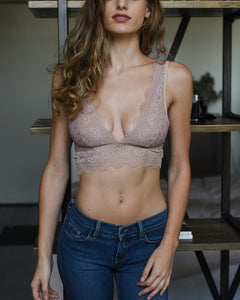 Date Night - Mauve Plunge Lace Bralette