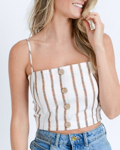 Cinnamon Striped Crop Top