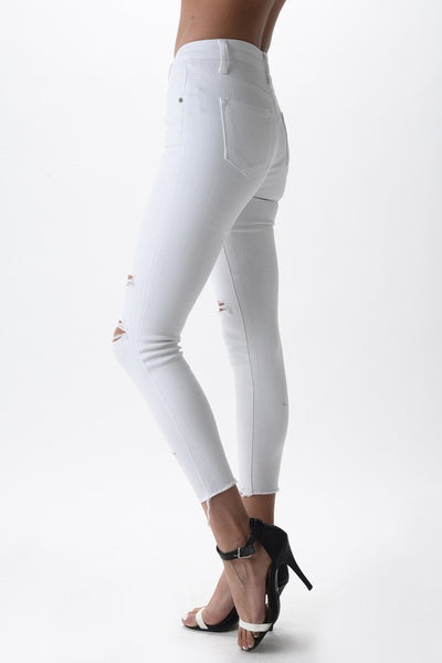 Troy - White Slit Denim