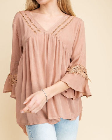 Dusty Rose Crinkle Gauze Top