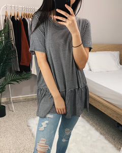 Rosie - Charcoal Striped Babydoll Tee
