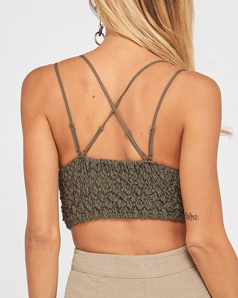 Paradise - Olive Green Lace Bralette