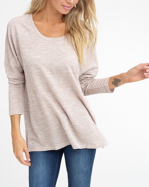 Light Taupe Ribbed Long Sleeve