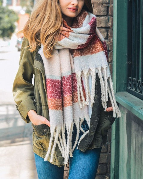 Athens - Lilac Striped Tassel Scarf