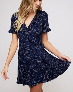 Evelyn - Navy Polka Dot Wrap Dress