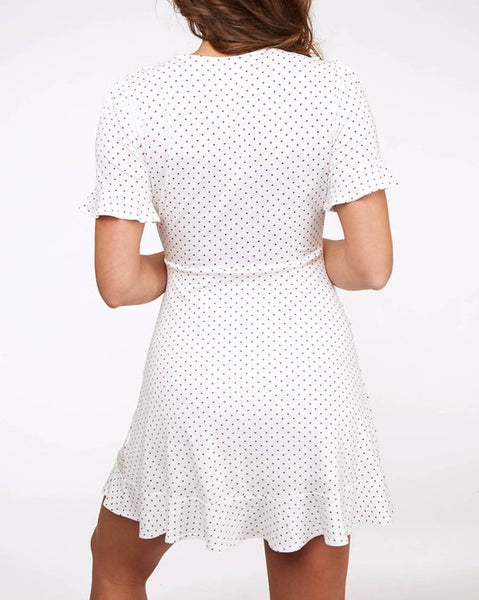 Evelyn - White Polka Dot Wrap Dress