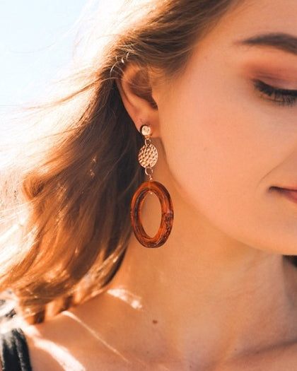 Amber Hoop Drop Earrings