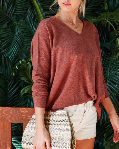 Ally Rustic Brick Sweater