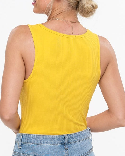 Basic Yellow Ribbed Bodysuit