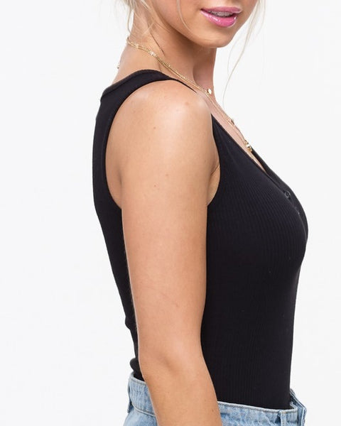 Basic Black Ribbed Bodysuit
