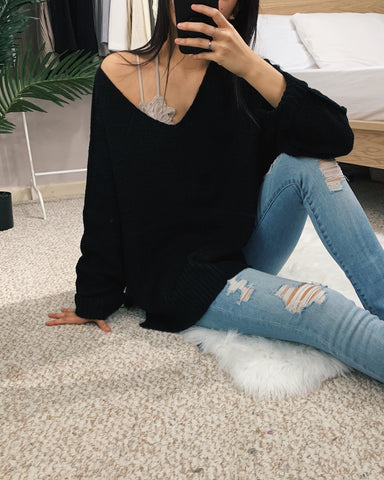 Amelia - Black High-Low Sweater