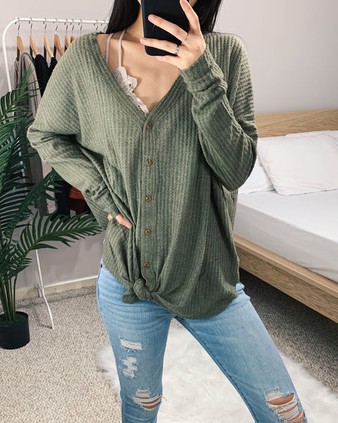 Vanessa - Olive Green Oversized Thermal Top