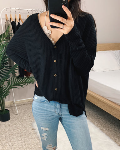 Vanessa - Black Oversized Thermal Top