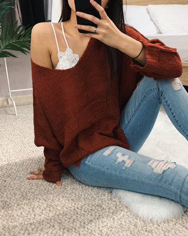 Amelia - Brick High-Low Sweater