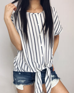 Charlotte - Off White + Navy Blue Striped Top