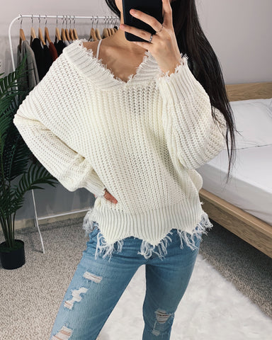 Sadie - Ivory Frayed Sweater