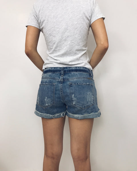 Hannah - Distressed Denim Shorts