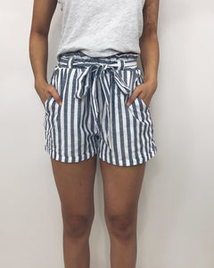 Lauren - Navy + White Striped Shorts