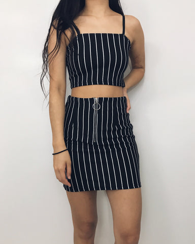 Kylie - Black + White Pinstriped Two-Piece Set
