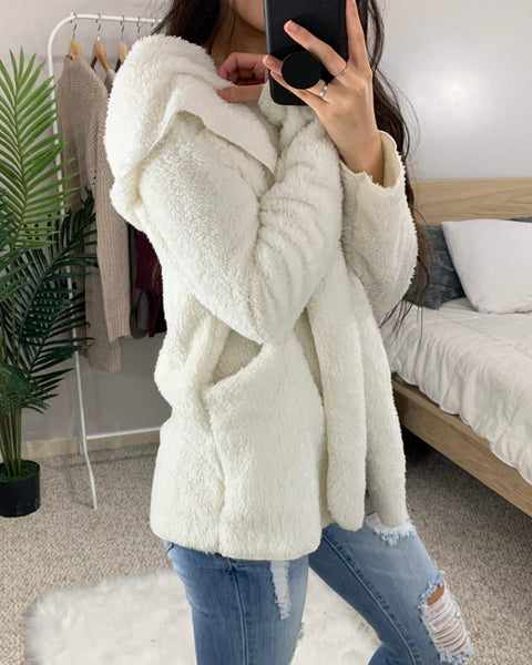 Off White Light Fluffy Teddy Jacket