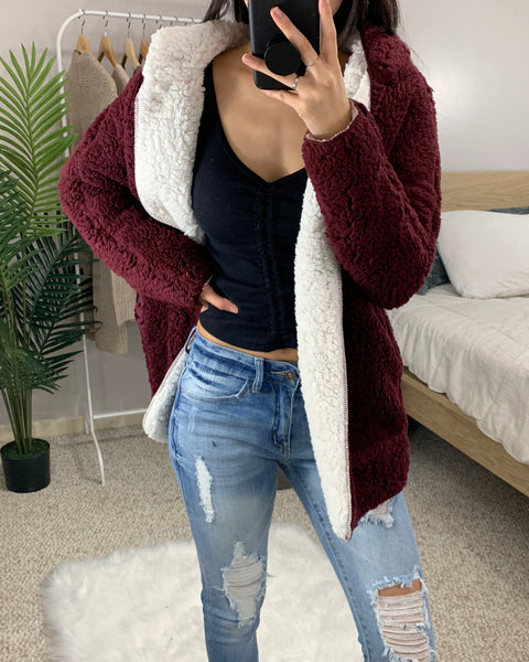 White + Burgundy Reversible Teddy Jacket