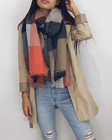 Madrid - Orange + Navy Waffle Blanket Scarf