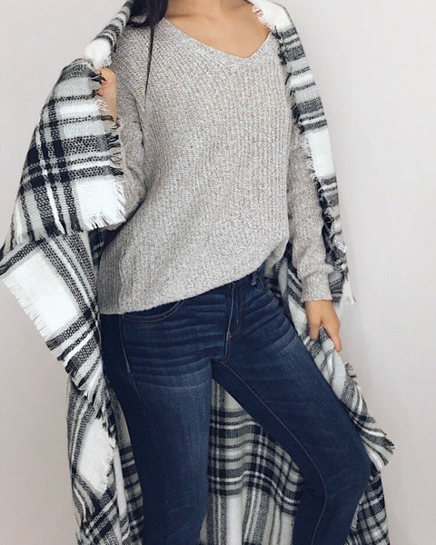 Juneau - Black + White Plaid Blanket Scarf