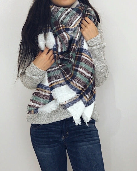 Juneau - White + Green Plaid Blanket Scarf