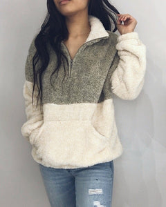 Camila - Lime/Taupe + Cream Fuzzy Pullover