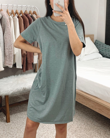 Blue Gray French Terry T-shirt Dress