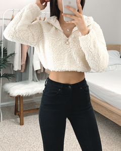 Cropped Sherpa Pullover