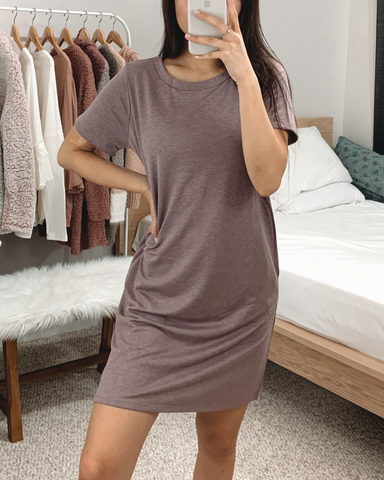 Plum French Terry T-shirt Dress