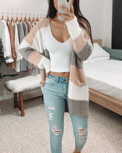Peach Color Block Fluffy Cardigan