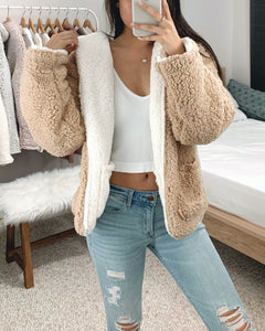 Ivory + Cream Reversible Hooded Teddy Jacket