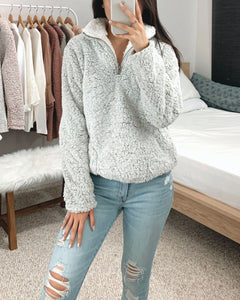 Gray Sherpa Quarter Zip Pullover