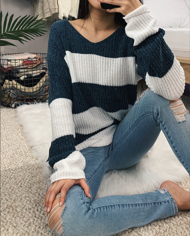 Madison - Teal Blue Striped Sweater