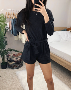 Claire - Black Knit Romper
