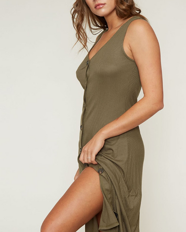 Olive Green Button Midi Dress