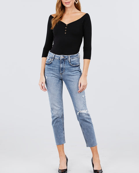Ribbed Button Top - Black