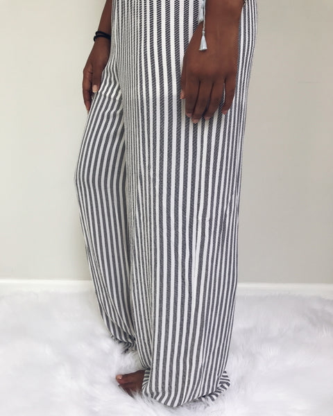 Davina - White + Black Striped Jumpsuit