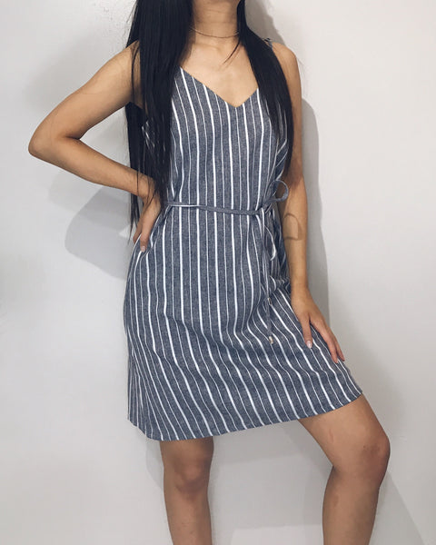 Jane - Navy + White Striped Slip Cami Dress
