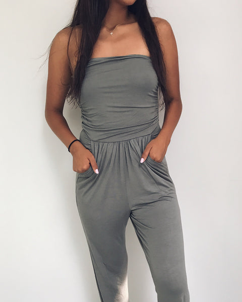 Genesis - Sage Green Tube Top Jumpsuit
