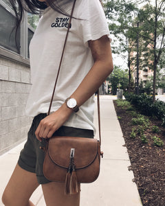 Maui - Brown Vegan Leather Crossbody Bag