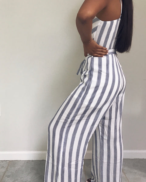 Devon - Navy Blue + White Striped Jumpsuit