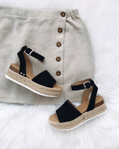 Kendra Black Platform Sandals
