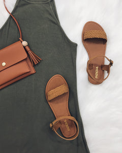 Summer - Tan Braided Ankle Strap Sandals